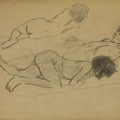 Лежащая девочка. Наброски, 1945