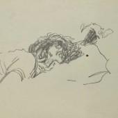 Лежащая девочка. Набросок, 1945