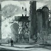 """Рисунок к картине """"Старые уральские домны"""", 1958"""