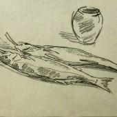 Натюрморт с рыбой и с горшком, 1956