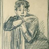 Набросок к портрету актрисы МХАТ Евгении Ханаевой, Начало 1960х