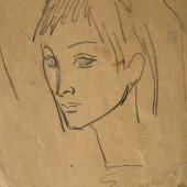 """Набросок по картине """"Мадонна"""" современного австрийского художника, 1964"""