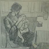 Кормление младенца (внук Коля), 1962