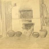 Интерьер деревенского дома, 1948