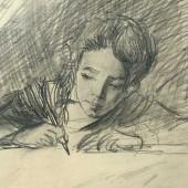 Портрет дочери. За уроками, 1944 (?)