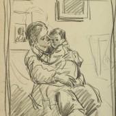 """Рисунок к картине """"Поцелуй"""" 1940-е (1943?)"""