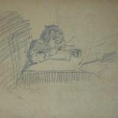 Первокласница. Набросок, 1947
