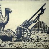 Верблюды с кибиткой (первый опыт линогравюры), 1958